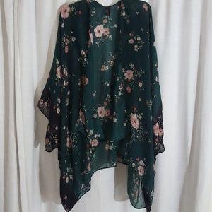 Lane Bryant Green Floral kimono